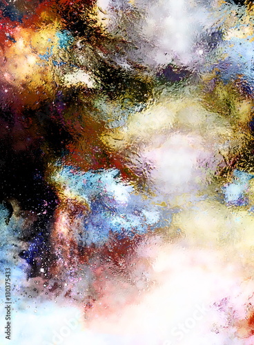 Poster Artificiel Cosmic space and stars, cosmic abstract background and glass effect.