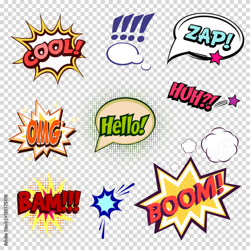 Collection of nine multicolored comic sound Effects a transparent