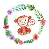 Cute baby monkey Animal for kindergarten, nursery, children clothing, pattern - 130376255