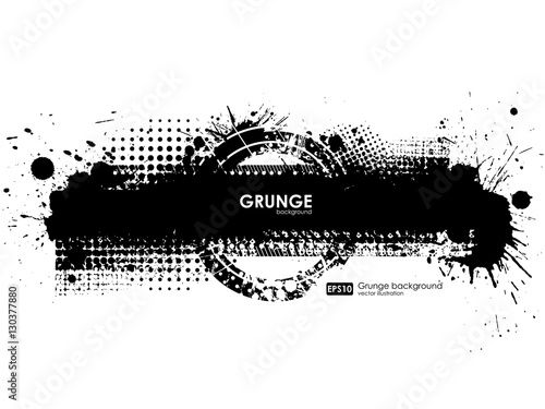 Ink Splash Background  Black Paint Splattered Shape  Grunge