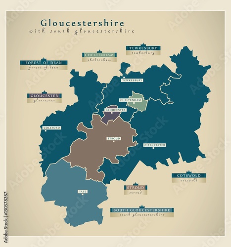 Fototapeta  Modern Map - Gloucestershire county with South Gloucestershire details UK