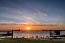 Tynemouth Sunrise, At The Mouth Of The River Tyne Which Is Located Between South Shields And Tynemouth, Where It Enters The North Sea