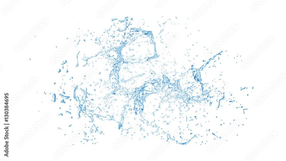 Fototapety, obrazy: Isolated blue splash of water splashing on a white background. 3