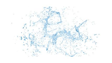 Isolated blue splash of water splashing on a white background. 3