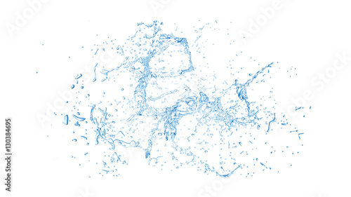 Fotografering  Isolated blue splash of water splashing on a white background. 3