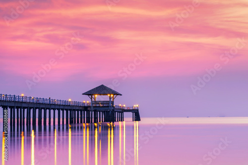 Foto auf AluDibond Rosa Lovey Summer, Travel, Vacation and Holiday concept - Wooden pier between sunset in Phuket, Thailand