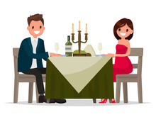 Couple Having Dinner By Candle...