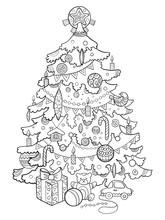 Christmas Tree Cartoon Coloring Book Vector
