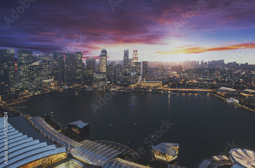 Photo  Singapore city in sunset time