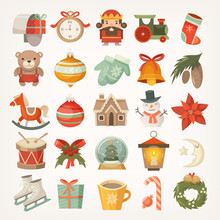 Set Of Colorful Flat Stickers And Icons, Christmas Decorations And Christmas Tree Balls And Toys