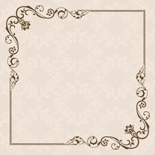 Vintage Card With Floral Frame Design.