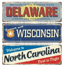 Vintage Tin Sign Collection With America State. All States. Retro Souvenirs Or Old Paper Postcard Templates On Rust Background. States Of America. Delaware. Wisconsin. North Carolina.