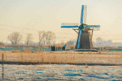 Lonely Dutch Windmill on a Cold winters morning Canvas Print