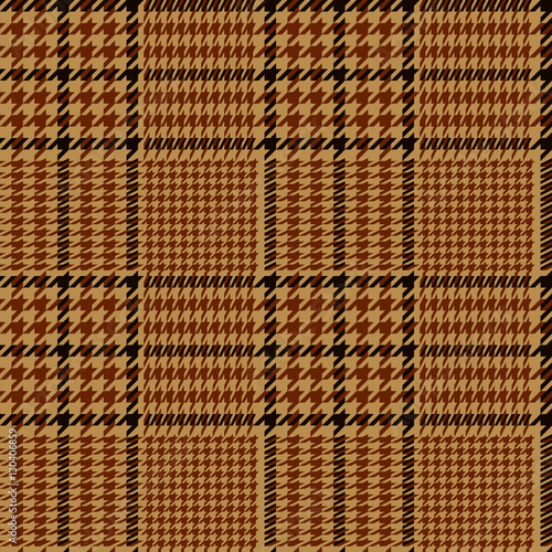 Photo  Houndstooth geometric plaid seamless pattern in brown and beige, vector