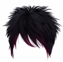 Trendy Woman Short  Hairs  Black Pink  Colors .