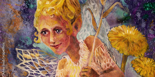 Photo  little flower pixie fairy with dandelion and bellflower, fairytale illustration