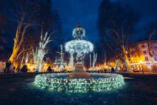 Illuminated Fountain On Zrinje...