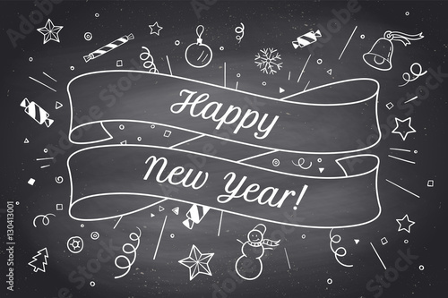 greeting card with red ribbon and inscription happy new year on christmas theme happy new