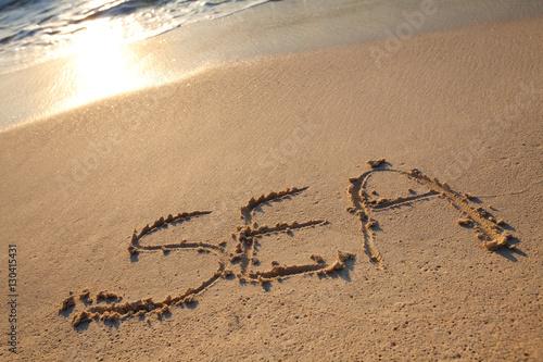 Fotografie, Obraz  mot sea écrit en anglais sur le sable sur la plage