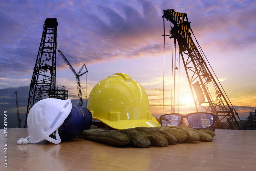 Fototapeta Standard construction safety and construction site background.