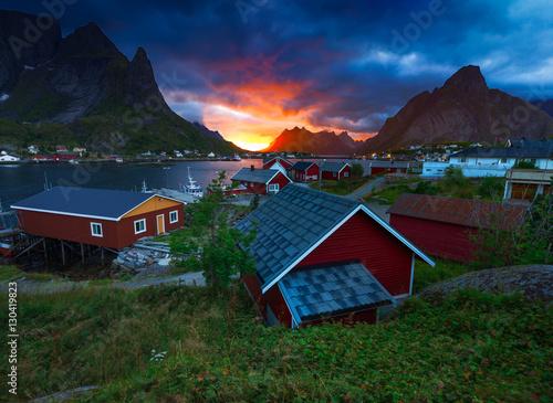 Deurstickers Poolcirkel The Fishing Village of Reine in Lofoten, Norway