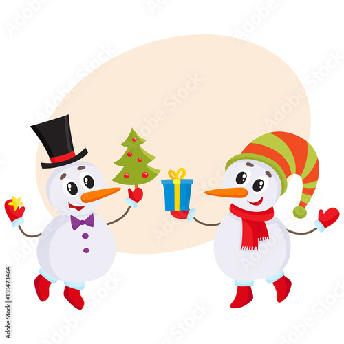 8c1064b1c9561 two cute snowman holding a Christmas tree and gift box