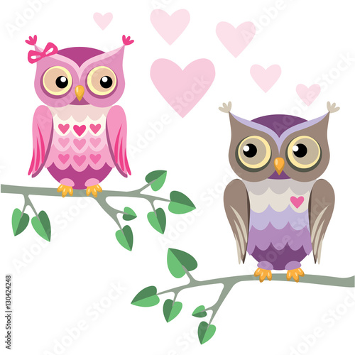 Canvas Prints Owls cartoon two owls in love