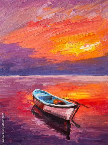 Plakat Obraz olejny, łódź na morzu, impresjonizm artystyczny, kolorowy zachód słońca