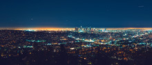Los Angeles Panoramic Cityscape At Night