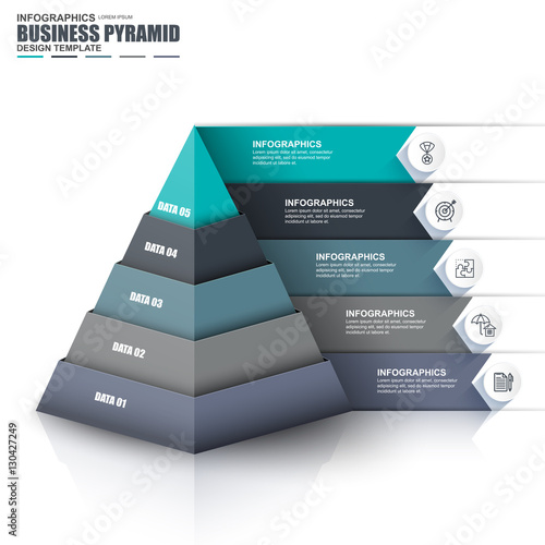 Photo Infographic pyramid vector design template
