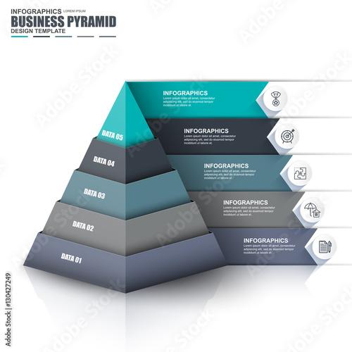 Fotografie, Obraz Infographic pyramid vector design template