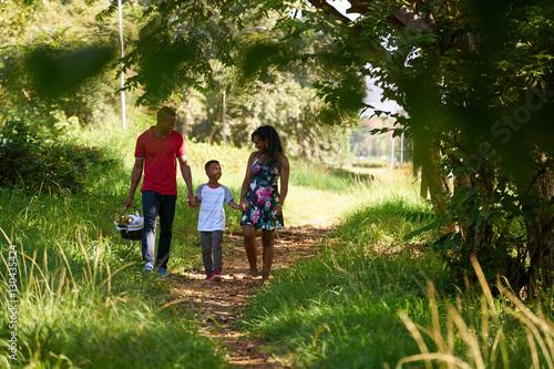 Fotografie, Obraz  Happy Black Family Walking In City Park With Picnic Basket