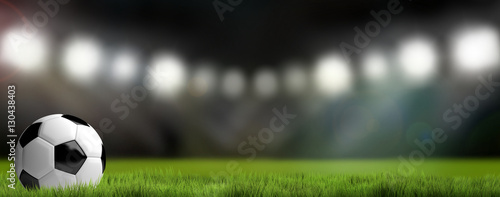 Obraz football soccer stadium background. 3D render football - fototapety do salonu