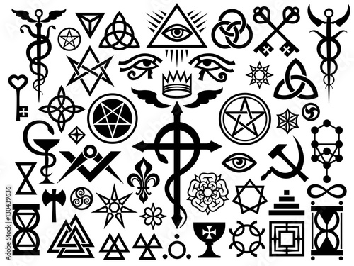 Medieval Occult Signs And Magic Stamps, Sigils, Locks, Knots Wallpaper Mural
