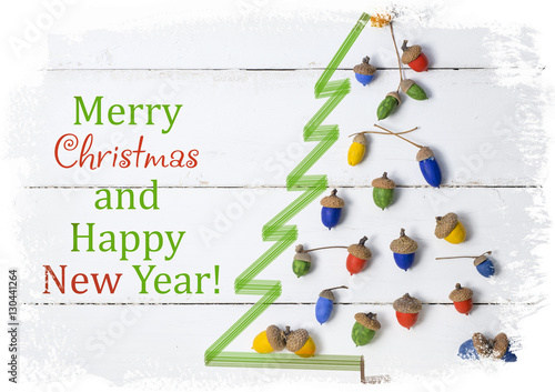merry christmas and happy new year in italian language handmade christmas tree decorations 2017 card buy this stock photo and explore similar images at