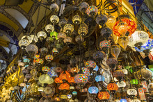 Many Hanging And Lit Colourful And Decorative Turkish Glass Light Shades In A Shop, Grand Bazaar, Istanbul, Turkey