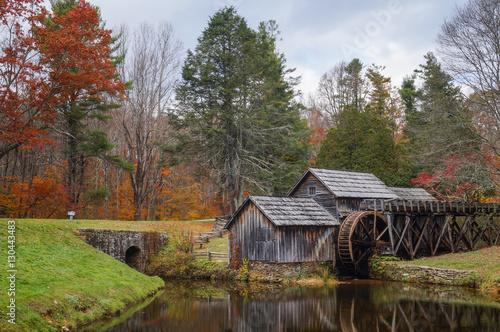 Aluminium Prints Mills Mabry Mill in Fall, Blue Ridge Parkway, Virginia