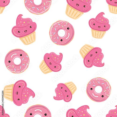 Materiał do szycia Wzór ze słodyczami - pączki, babeczki na białym tle.
