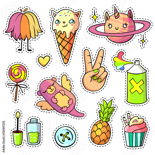 cool stickers set in pop art comic style patch badges and pins with