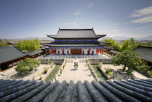 A View Down On Courtyard And Building In Classical Chinese Architecture Style At Mufu, Lijiang, Yunnan, China
