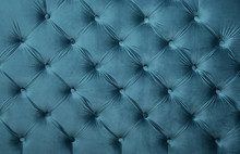 Blue Teal Capitone Tufted Fabric Upholstery Texture