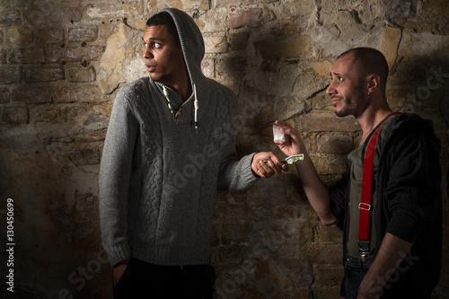 Drug addict buying narcotics and drugs in drug dealer Tableau sur Toile