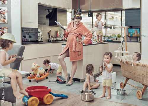 Foto auf AluDibond Artist KB Conceptual image of exhausted mom with her misbehaving child
