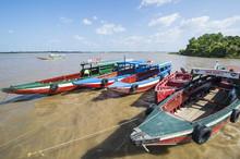 Colourful Boats On The Suriname River, Paramaribo, Surinam