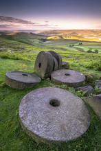Stanage Edge Millstones At Sunrise, Peak District National Park, Derbyshire