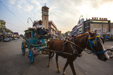 Downtown Pyin Oo Lwin Centered By Purcell Tower, A British Clock Tower Built In 1936, Pyin Oo Lwin