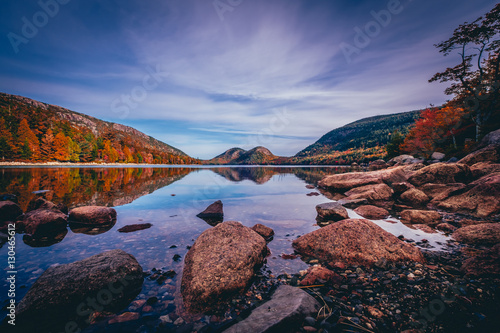 Fotografie, Obraz  Jordan Pond and view of the Bubbles in Acadia National Park, Maine