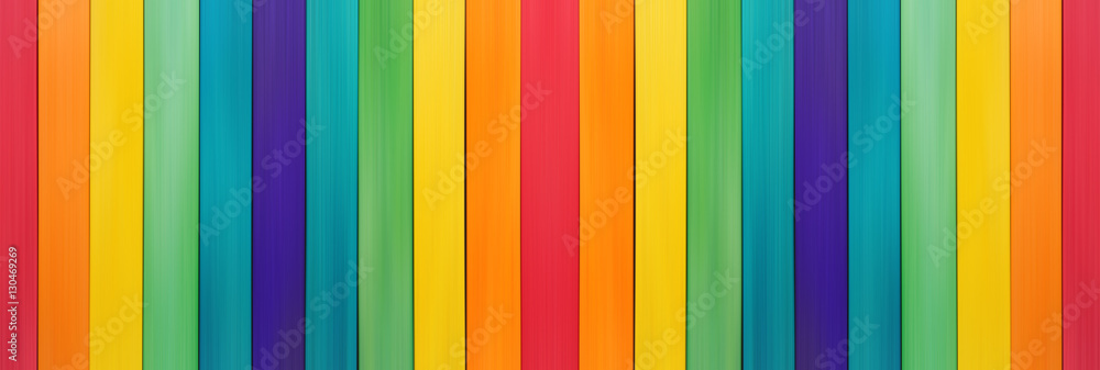 Fototapeta Fence wooden rainbow colorful for wooden textured background use