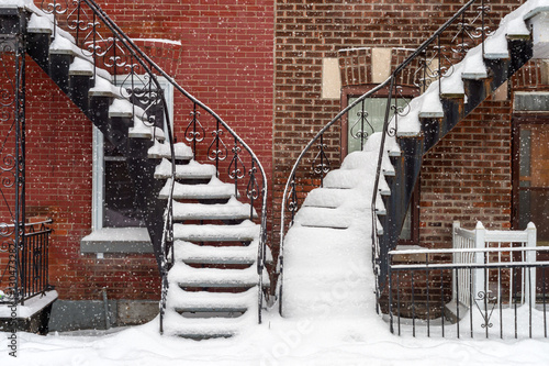 Photo Stands Stairs Staircases covered by snow In Montreal