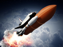 Rockets Carrying Space Shuttle Launches Off. 3D Illustration